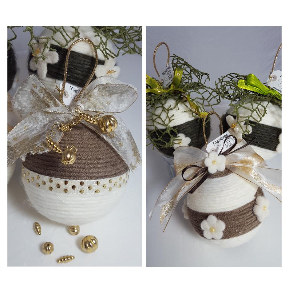 Palline di Natale di lana decorate