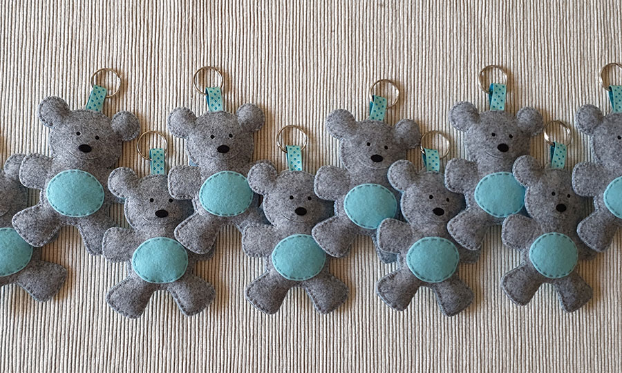 orsetti portachiavi feltro grigio azzurro