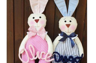 coniglietti con tutina fiocco nascita personalizzati