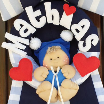 Bambolotto Fiocco nascita righe azzurro Mathias-2