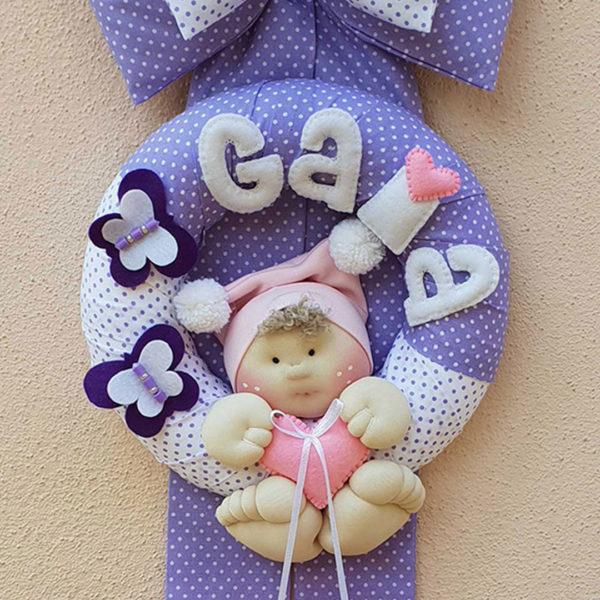 fiocco nascita lilla farfalle bambolotto