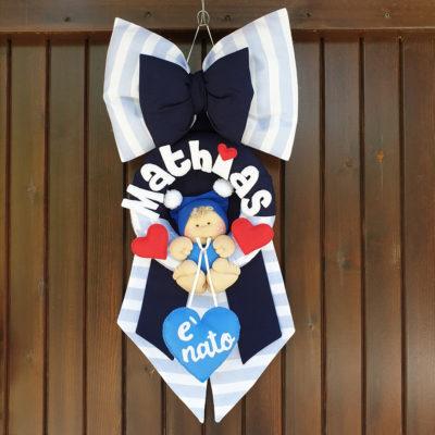 Fiocco nascita righe azzurro Mathias
