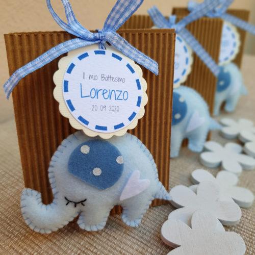 Bomboniera elefantino portachiavi azzurro2