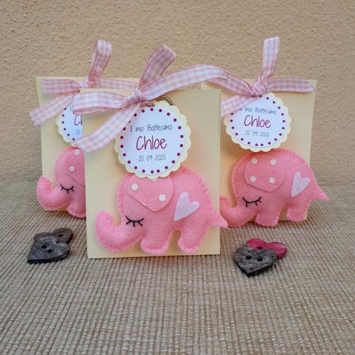 Bomboniera elefantino portachiavi rosa1