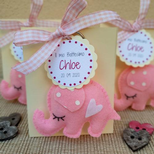 Bomboniera elefantino portachiavi rosa2