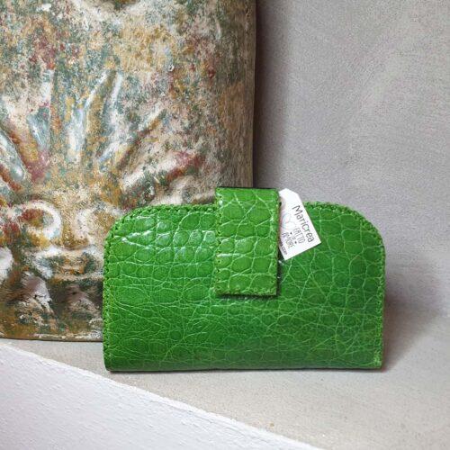 busta pelle stampa rettile verde