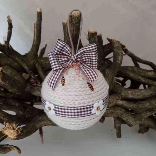 Pallina Natale lana perla nastro quadretti