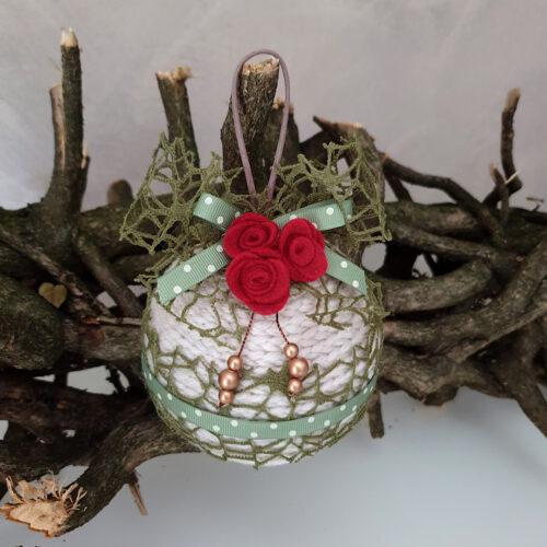 Pallina Natale lana perla nastro rete verde