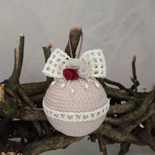 Pallina Natale lana sabbia nastro lana 3