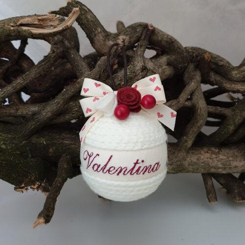 Pallina Natale lana bianca con nome2