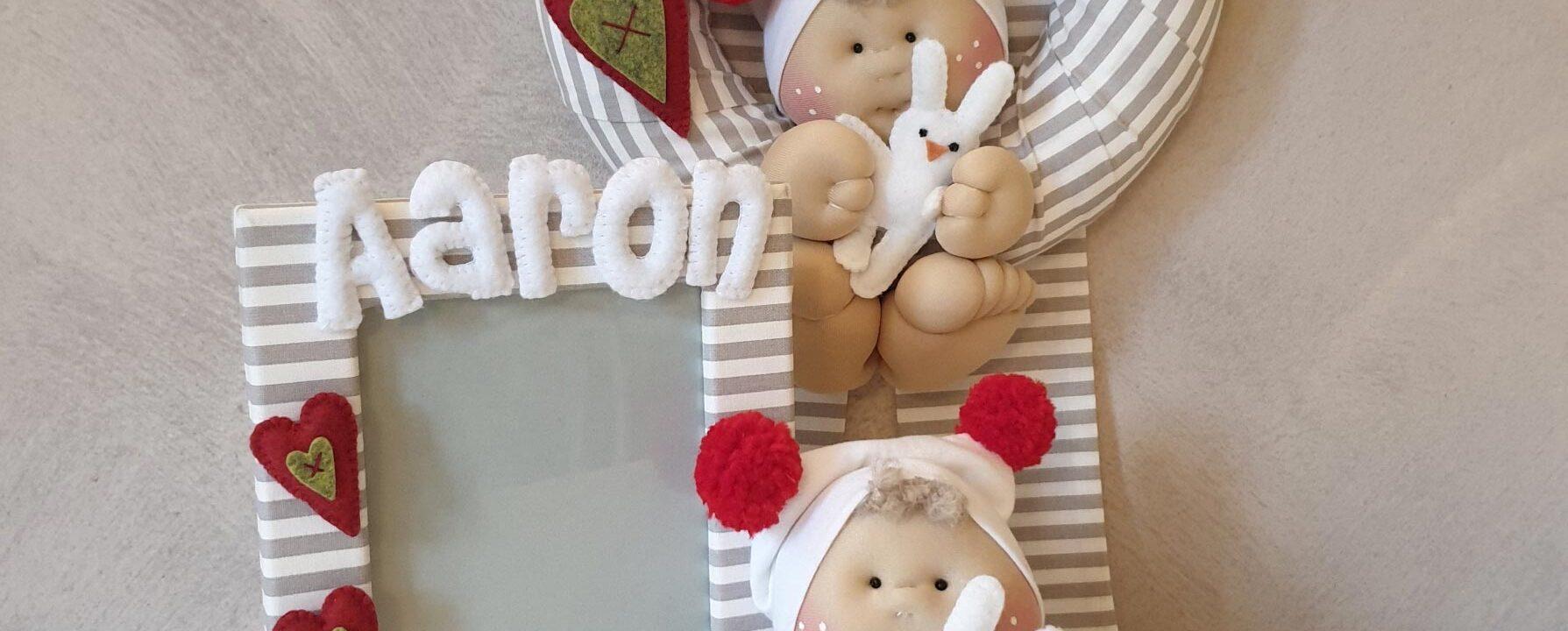 Set fiocco nascita e portafoto bebè
