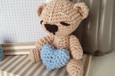 Portafoto personalizzato con orsetto crochet