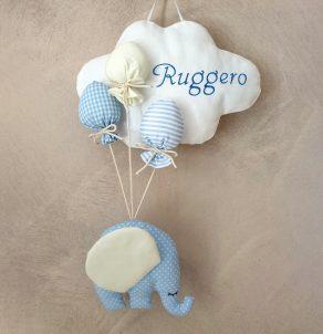 Fiocco nascita elefantino e nuvoletta