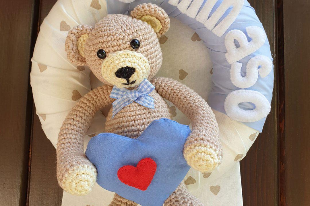 Fiocco nascita orsetto crochet